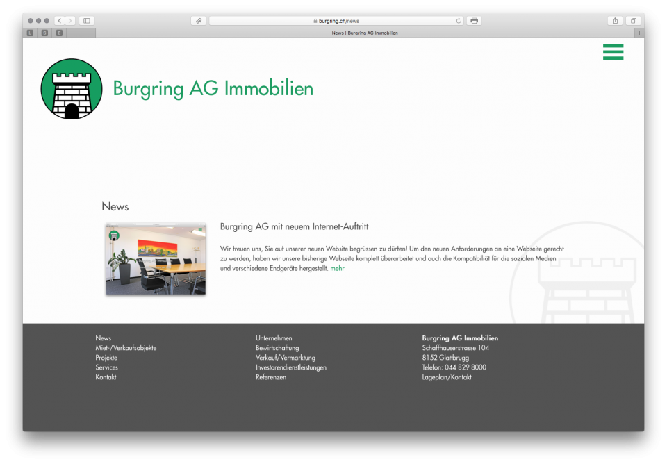 Webseite Burgring AG Immobilien und Burgring ZüriOberland AG