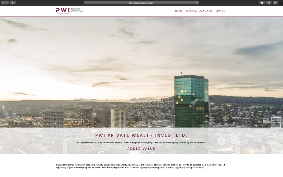 Webseite PWI Private Wealth Invest AG