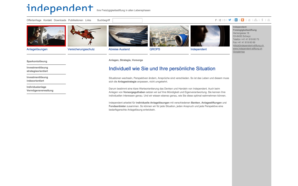 Screenshot independent Stiftung