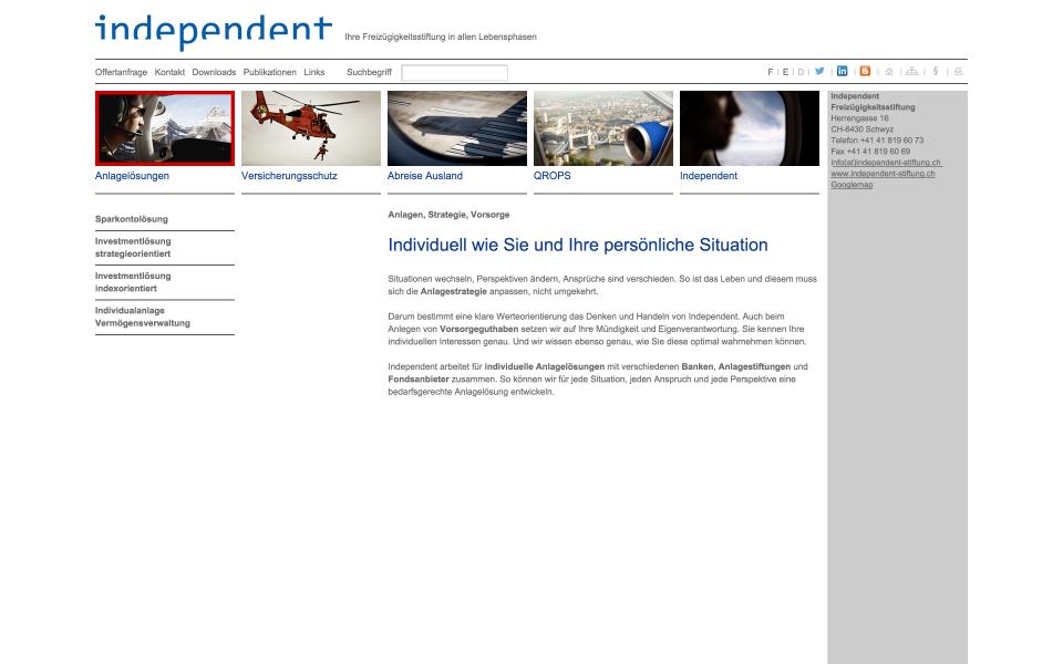 Screenshot independent Stiftung